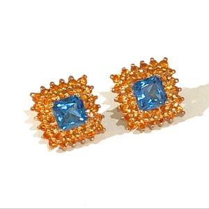 COPY - Orange Spinel Blue Topaz Stud Earrings